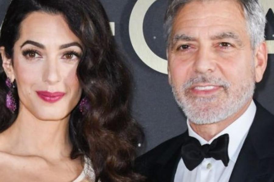 Nova definicija glamura: Amal Kluni blistala u zlatnoj Armani haljini (foto)