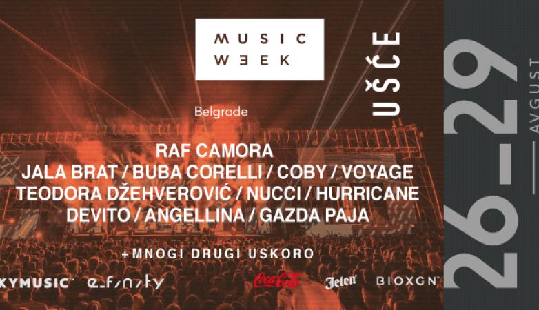 MUSIC WEEK 2021: Coby, Buba, Jala, Teodora Džehverović, Hurricane i mnogi drugi u avgustu na Ušću!